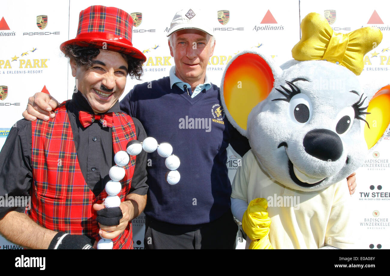 Herbolzheim, Germany - May 5, 2014: Eagles Charity Golf Cup and Gala at Golfclub Breisgau and Europa Park, Rust with Football Champion Rainer Bonhof (middle) Credit:  dpa picture alliance/Alamy Live News - Stock Image