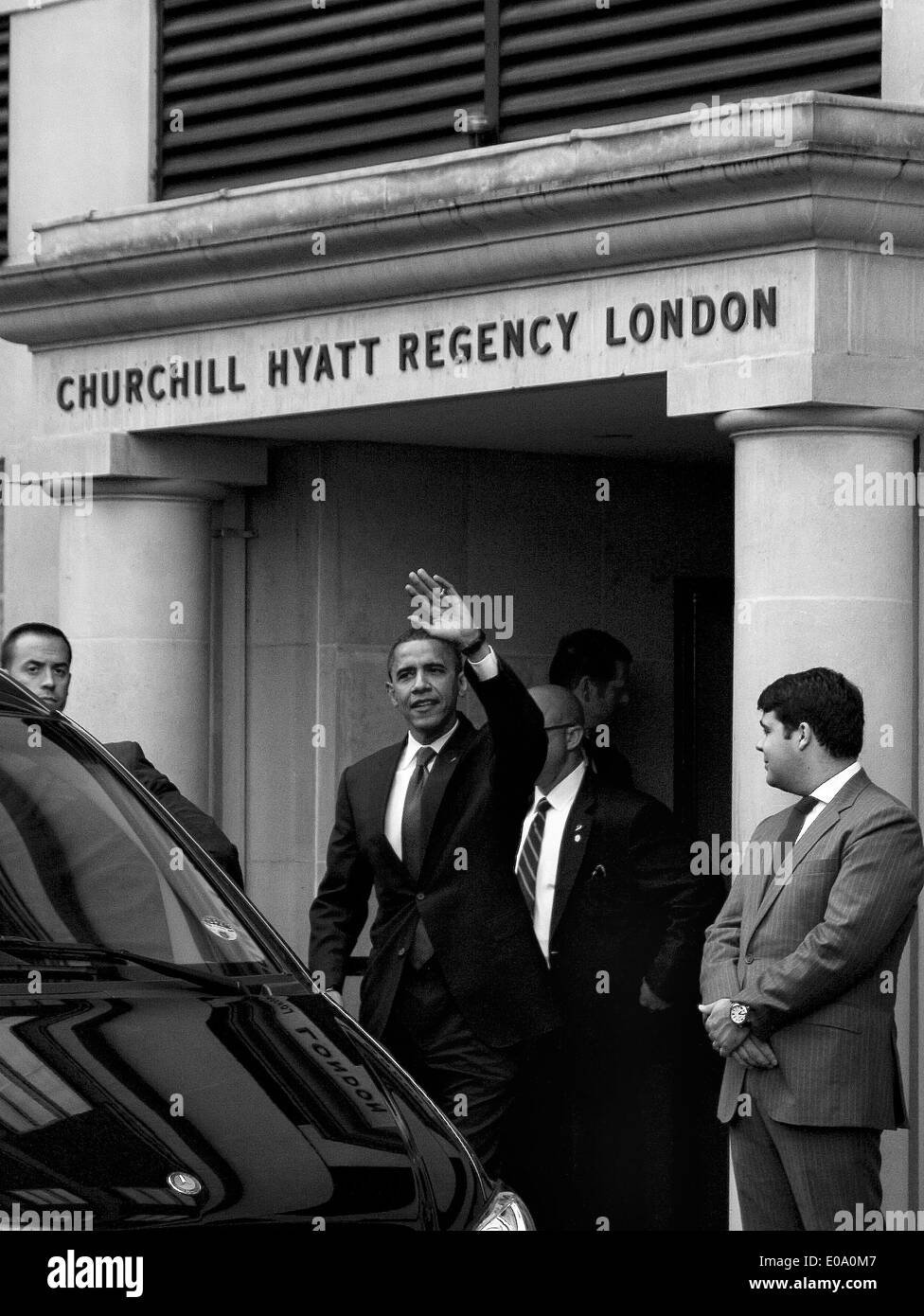 Barack Obama on a visit to the United Kingdom prior to winning the US Presidential Elections for the first time Stock Photo