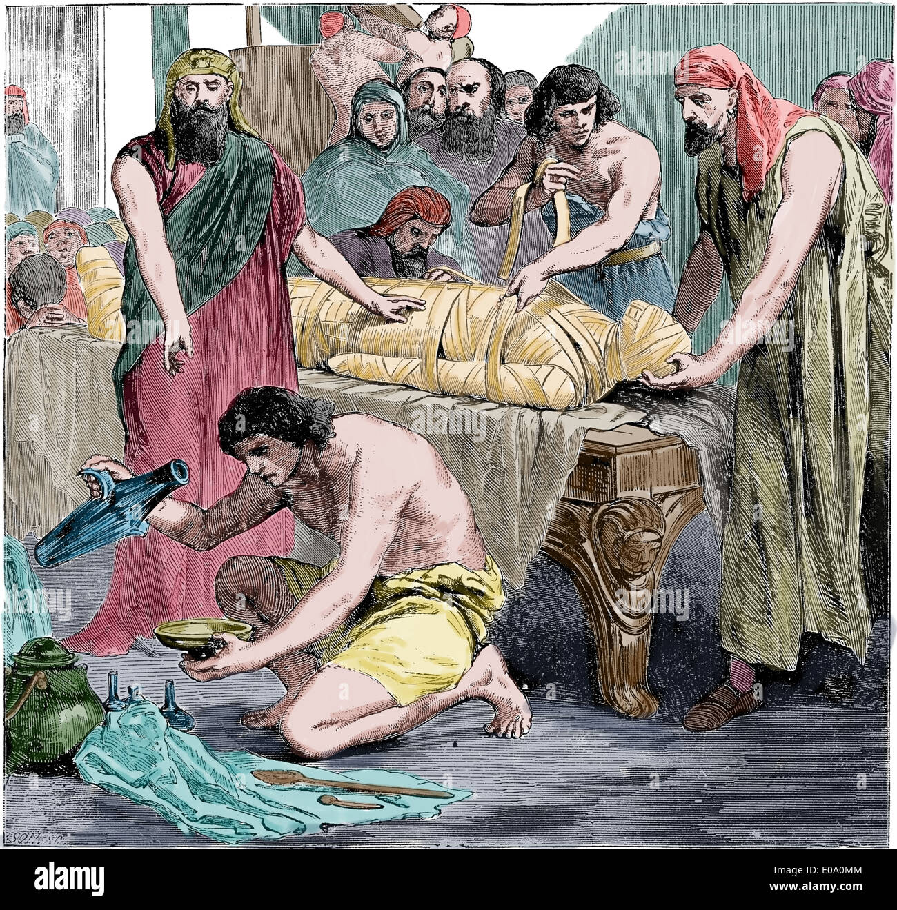 Ancient Egypt. Embalsaming. Cyclopedia of Universal History, 1885. Engraving. Later colouration. Ritual. - Stock Image