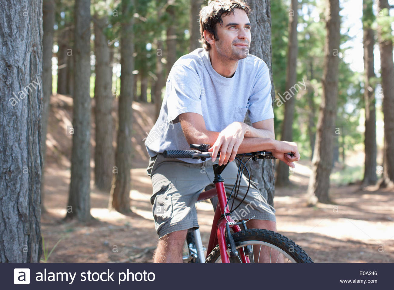 bicycle rider relaxing in forest - Stock Image