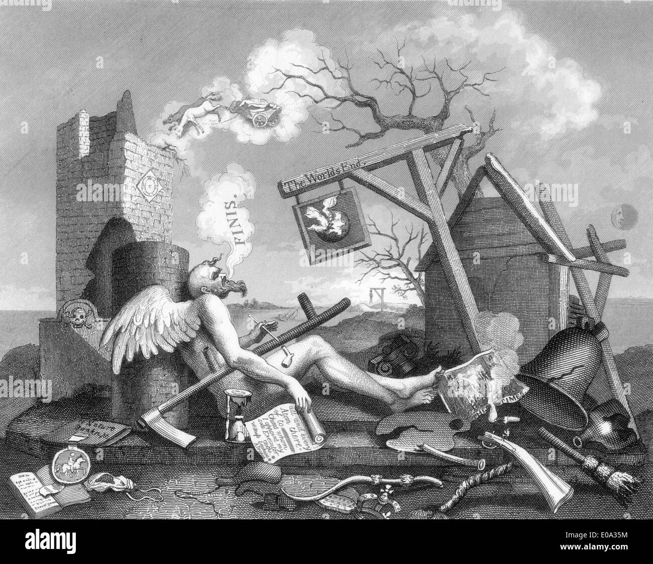Engraving after William Hogarth; Finis or The Tail Piece Stock Photo
