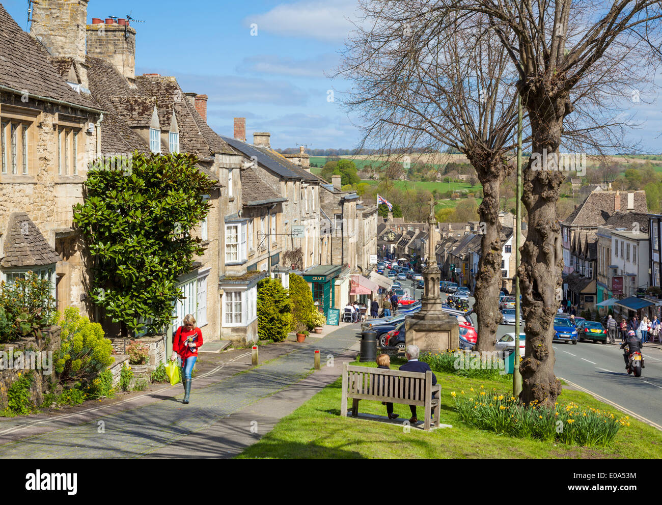 High Street Burford Cotswolds Oxfordshire England UK EU Europe - Stock Image