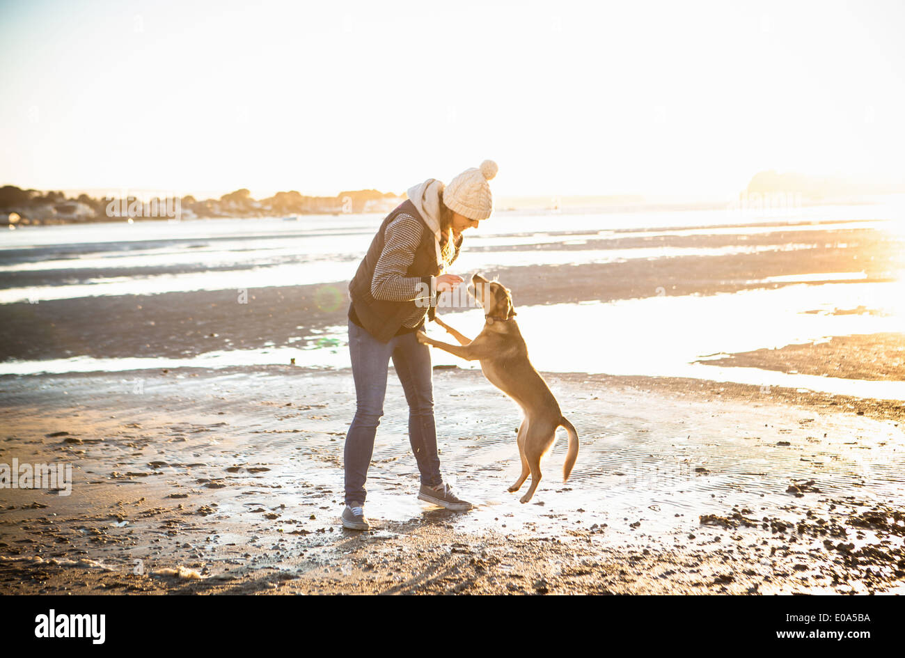 Young woman playing with her dog on the beach - Stock Image