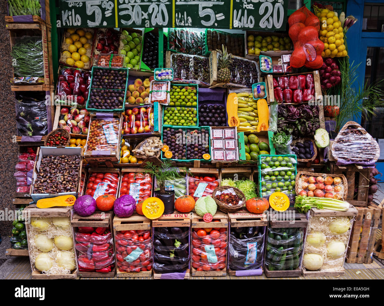 fruit and vegetable market display in mar del plata argentina stock