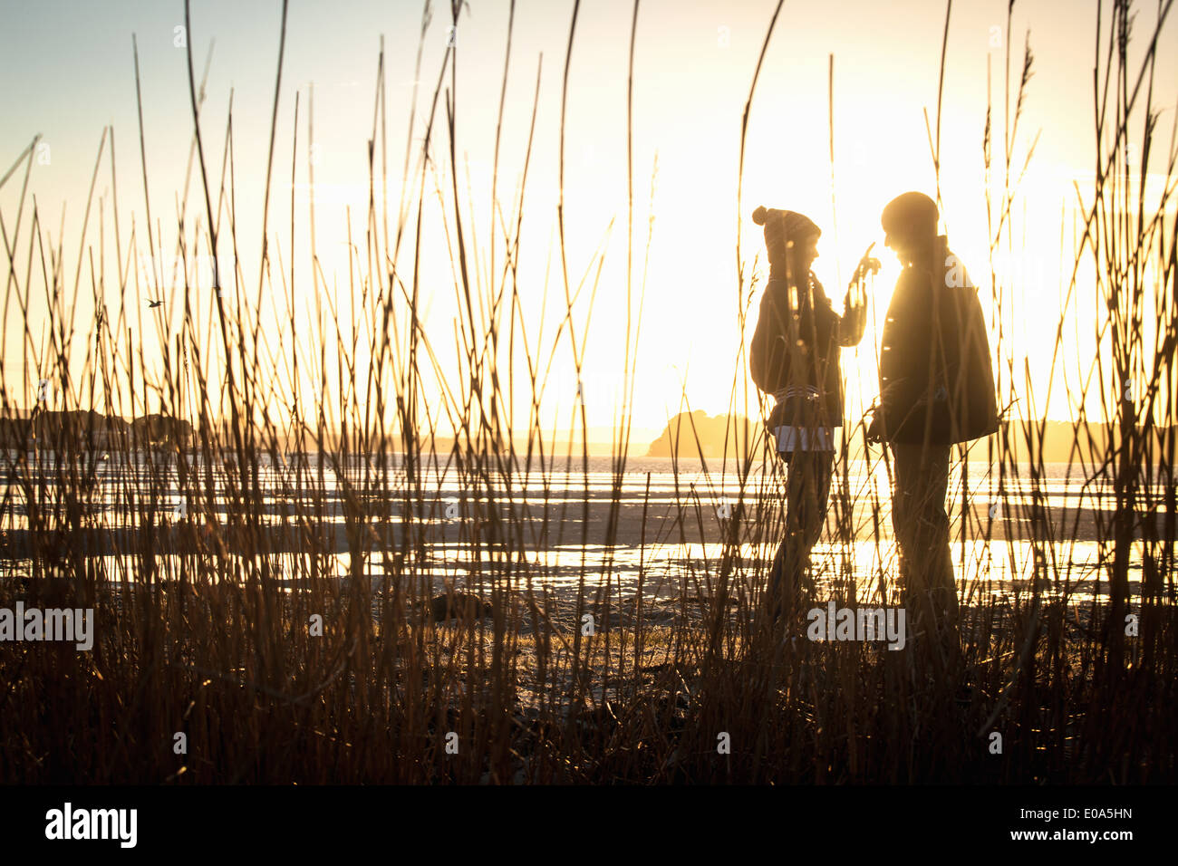 Silhouette of romantic young couple on the beach Stock Photo