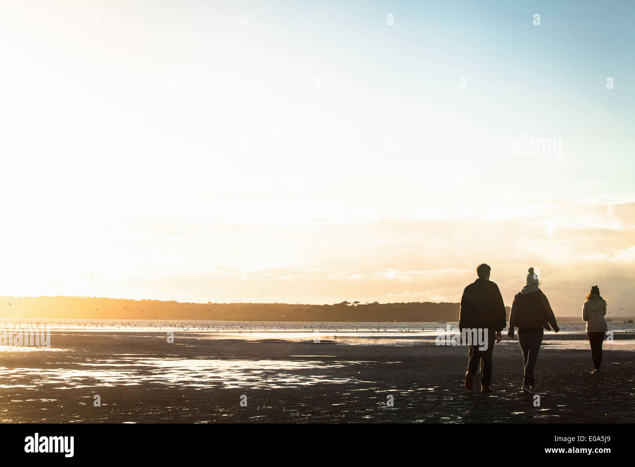 Adult friends out strolling at the coast - Stock Image