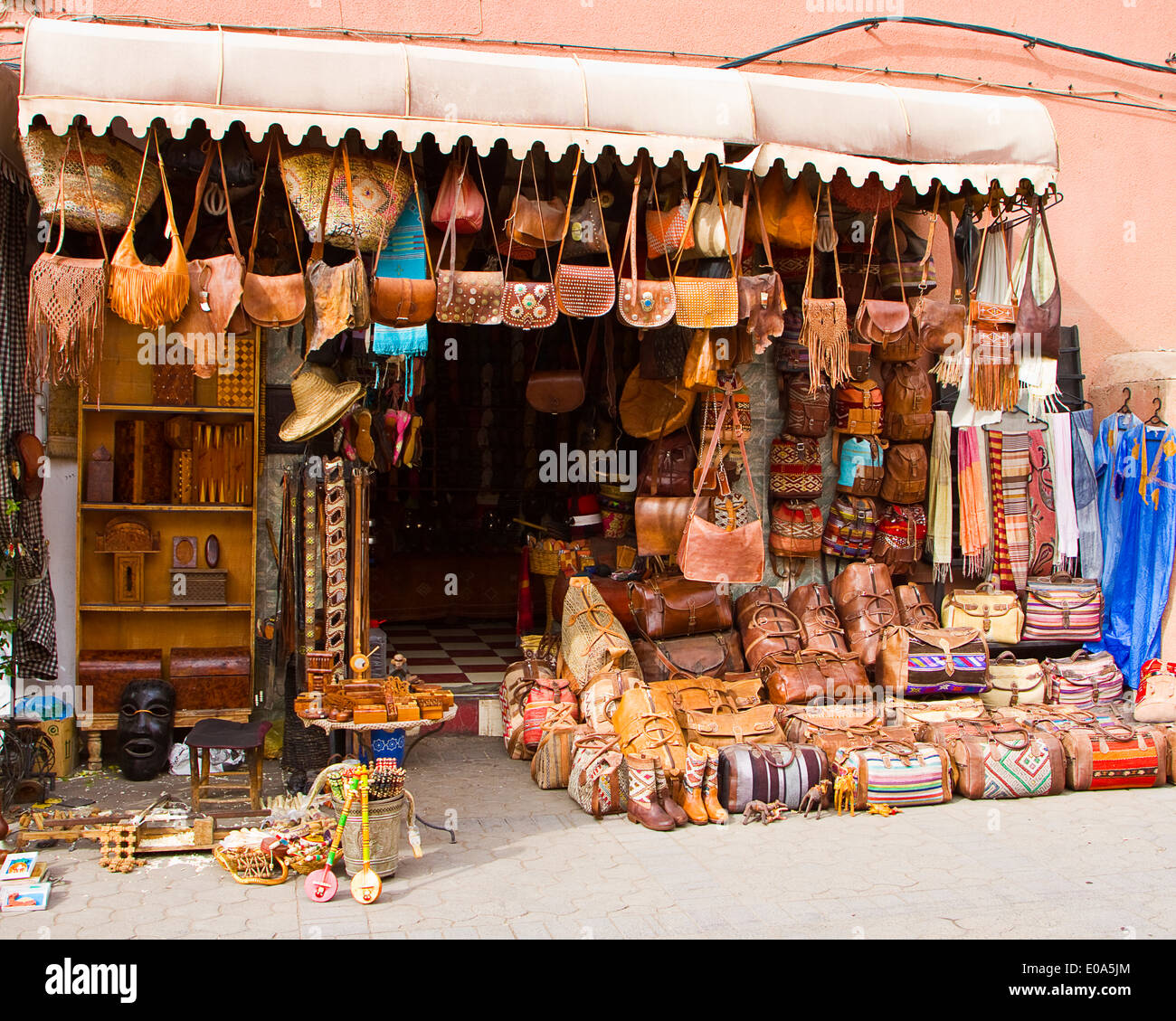 Leather Goods For Sale To Tourists In The Souk At
