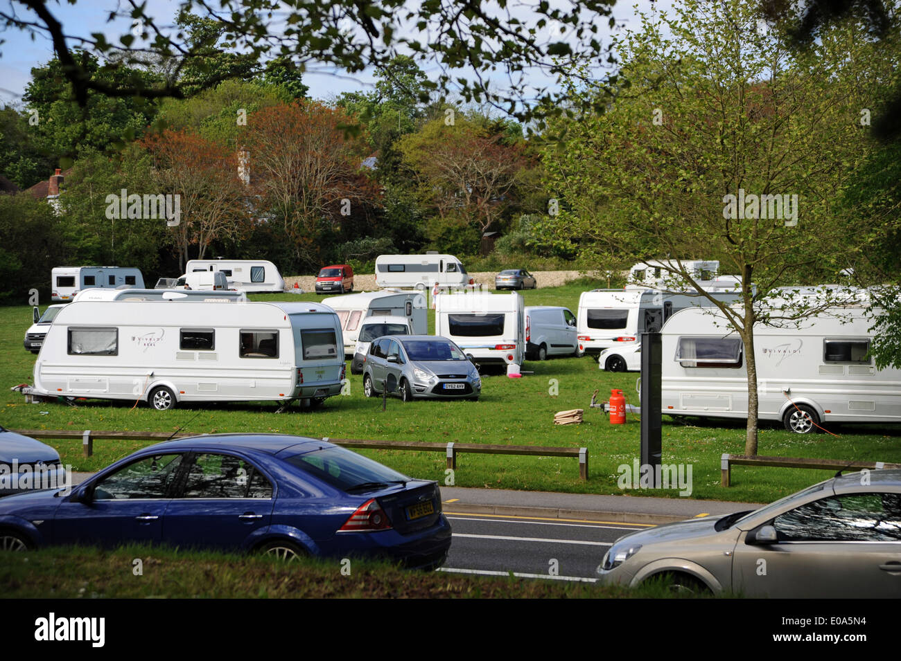 Travellers have moved on to Surrenden Field in Brighton UK - Stock Image