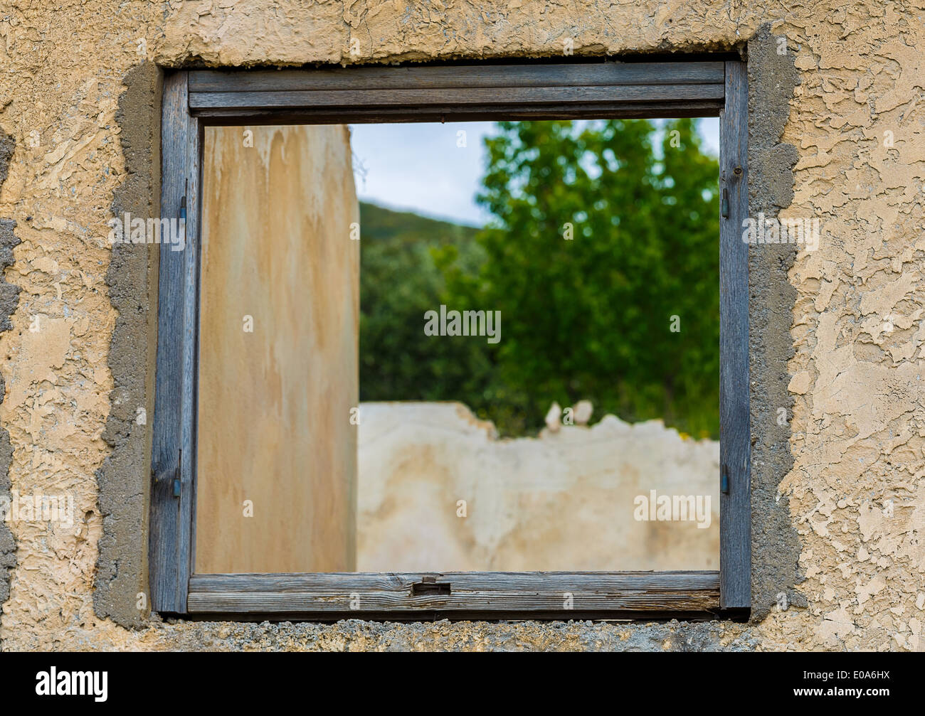 Window frame with natural view of forest and mountain in Greece ...