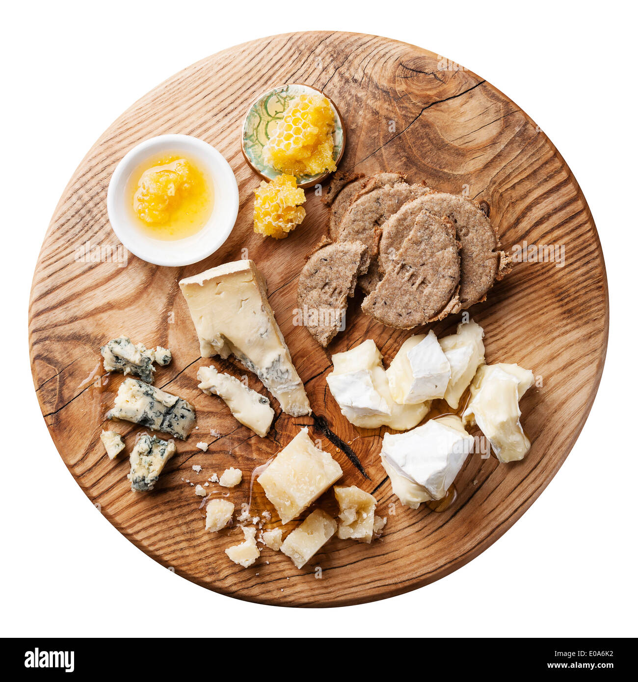Cheese appetizer with honey and crackers - Stock Image