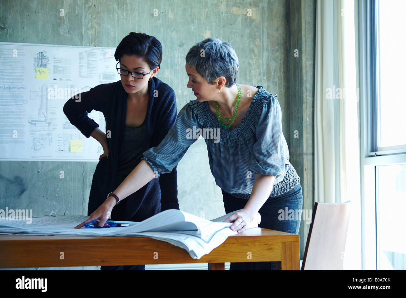 Two businesswomen studying blueprints in office - Stock Image