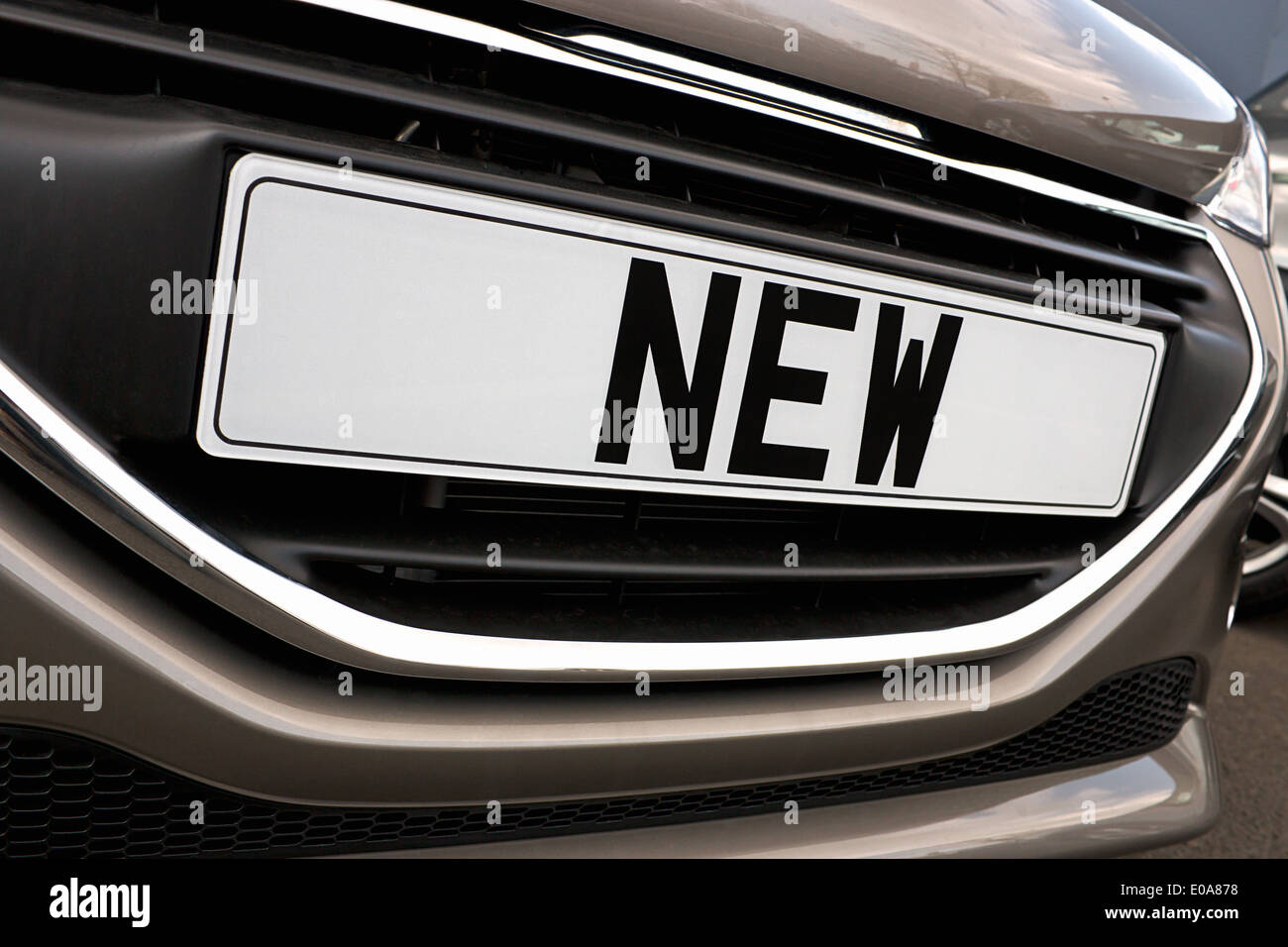 Number plate of a new car for retail sale on a motor dealers forecourt all logos removed - Stock Image