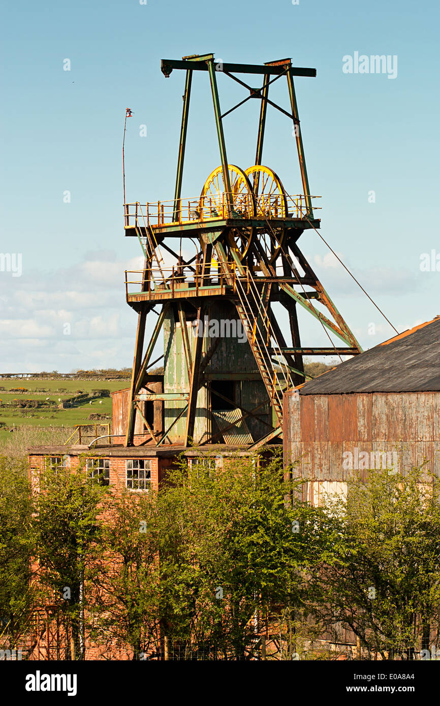 Pit head winding gear iconic colliery or mine workings - Stock Image