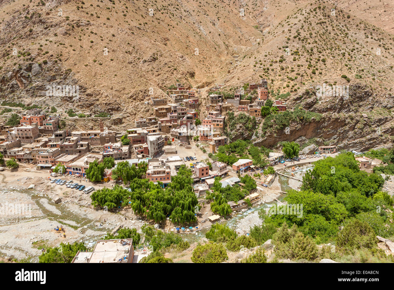 View of the village of Setti-Fatma in the Ourika valley in the Atlas mountains, Morocco, North Africa. Stock Photo