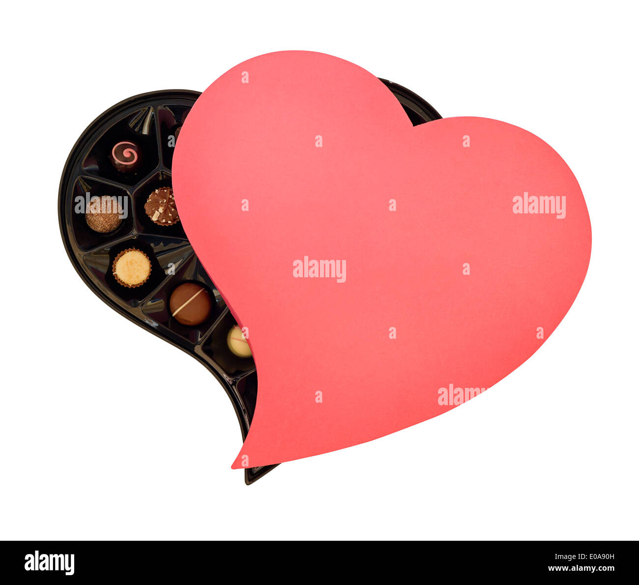 Heart shaped box of chocolates the perfect gift for your loved one on Valentines Day or Chocolate lovers - Stock Image