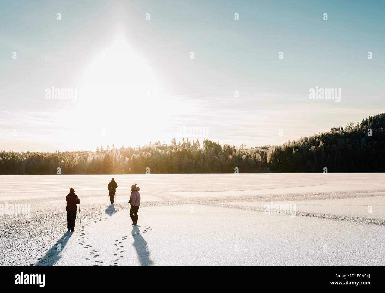 Three people nordic walking through snow covered field - Stock Image