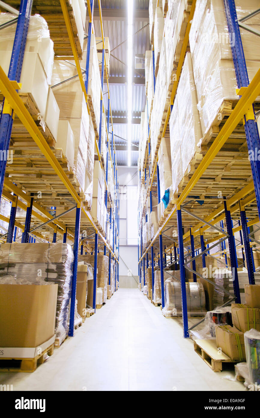 Aisle and shelves in distribution warehouse - Stock Image