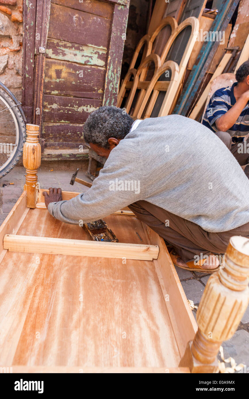 Crafts Man At The Medina Making Wooden Table, Marrakesh, Morocco.