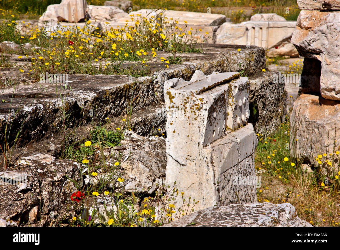 'Detail' from the Great Propylaea at the Archaeological site of Eleusis ('Elefsis' or 'Elefsina'), Attica, Greece - Stock Image