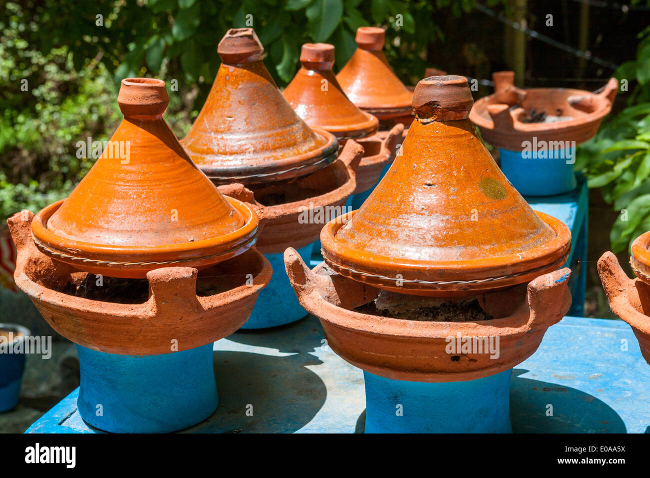 Tajine Moroccan speciality, in a typical pot, Ourika Valley, Morocco. - Stock Image