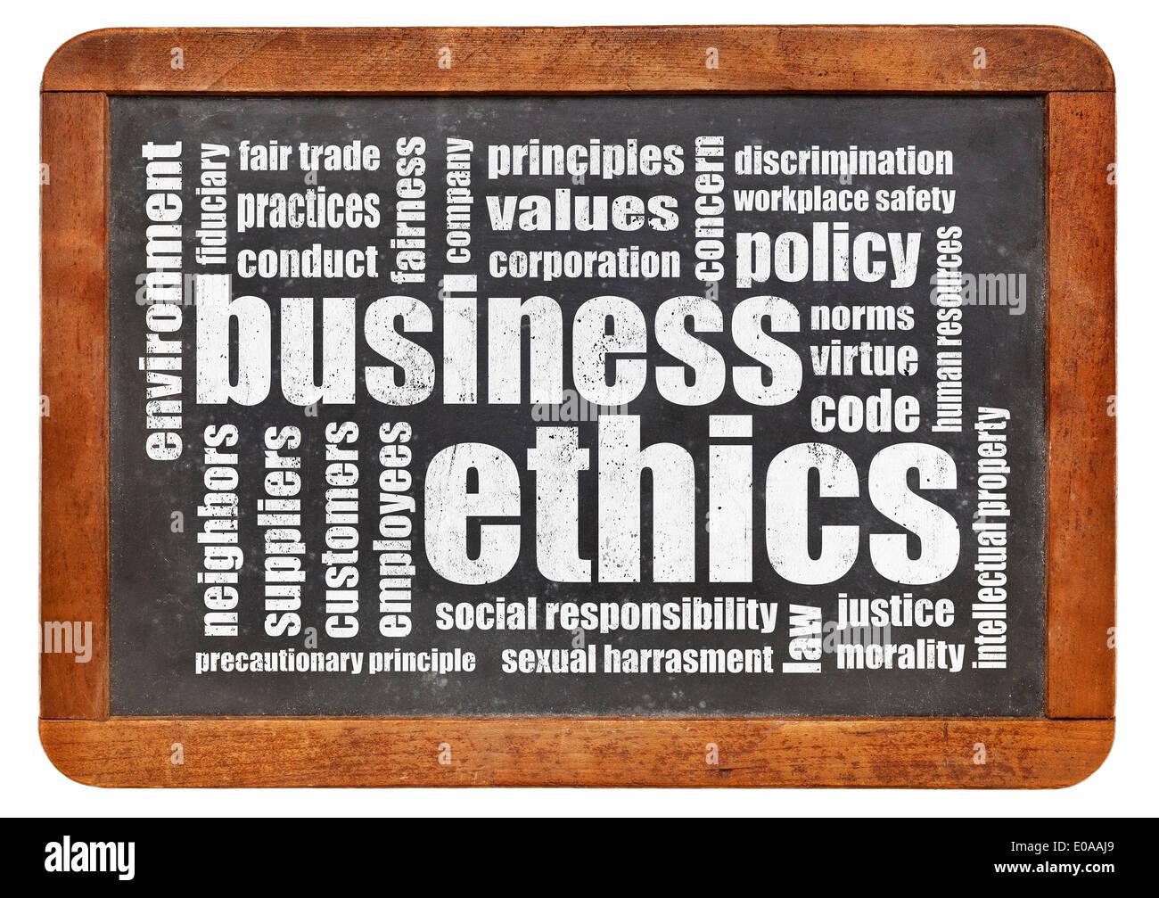 business ethics word cloud on a vintage blackboard - Stock Image