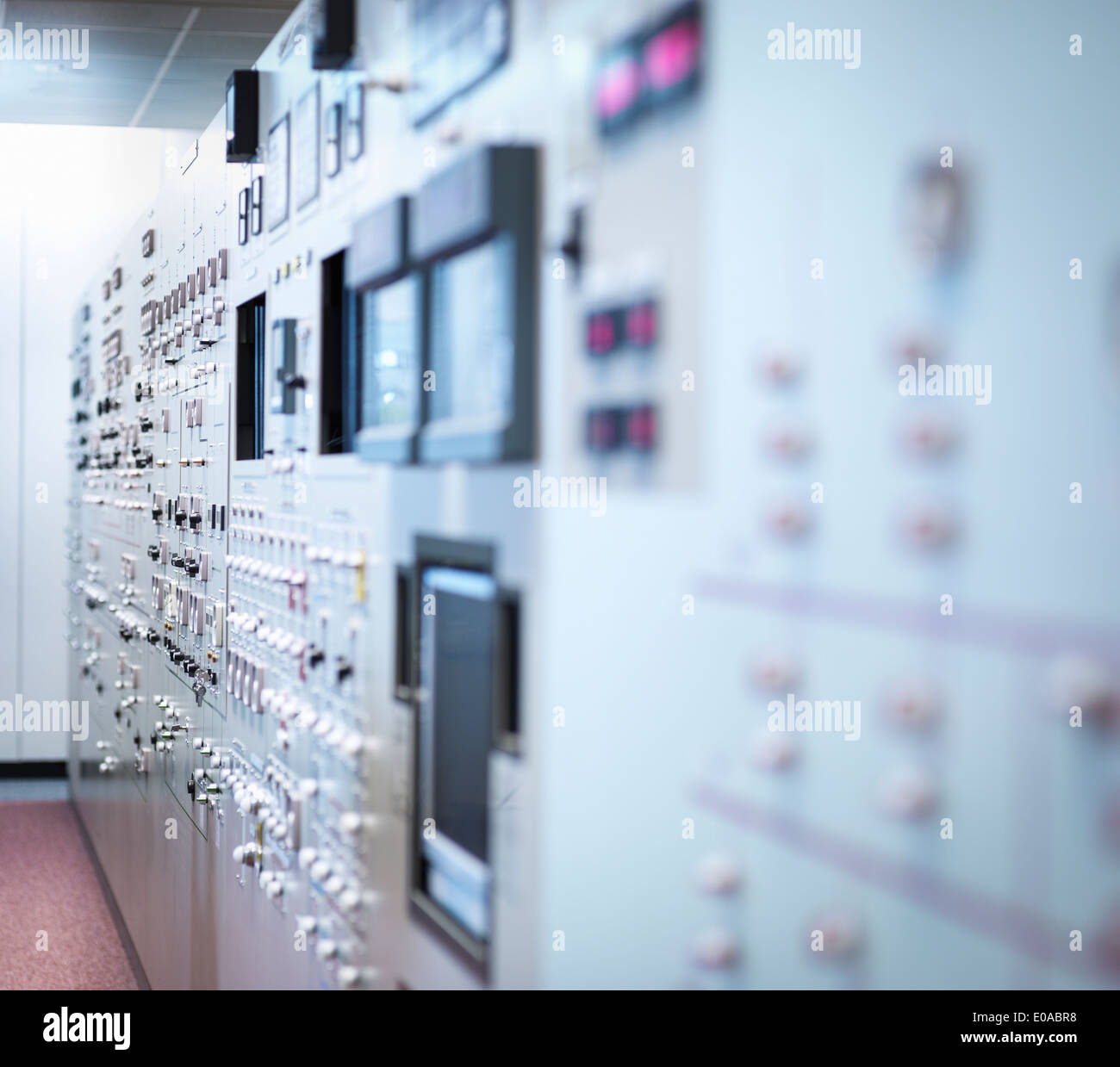 Detail of nuclear power station control room simulator, close up - Stock Image