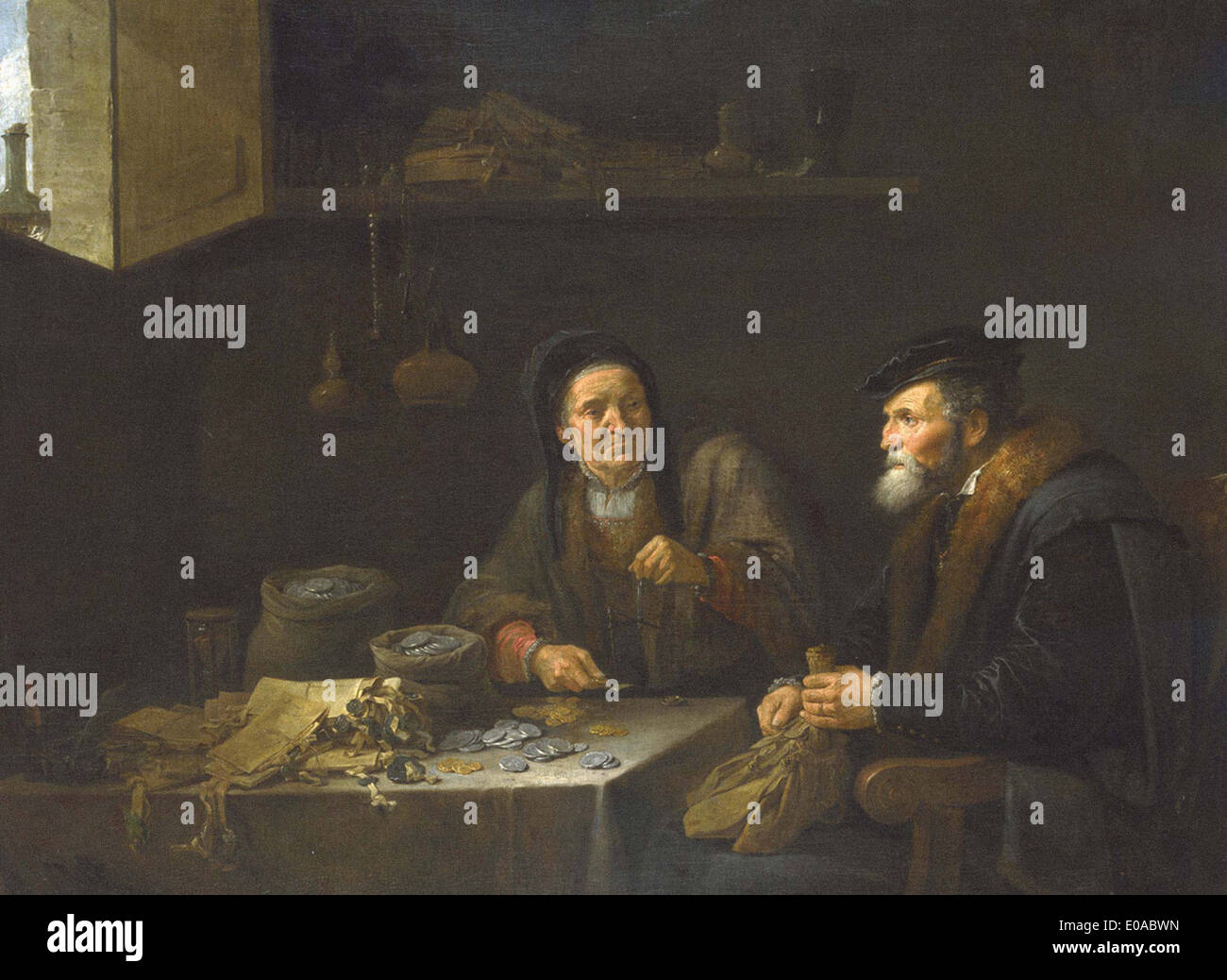 David Teniers the Younger The Covetous Man - Stock Image