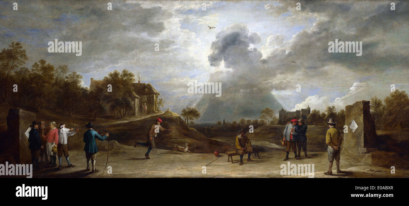 David Teniers the Younger Peasants at Archery - Stock Image