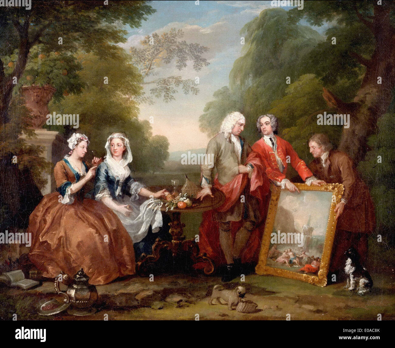 William Hogarth Conversation Piece (Portrait of Sir Andrew Fountaine with Other Men and Women) Stock Photo