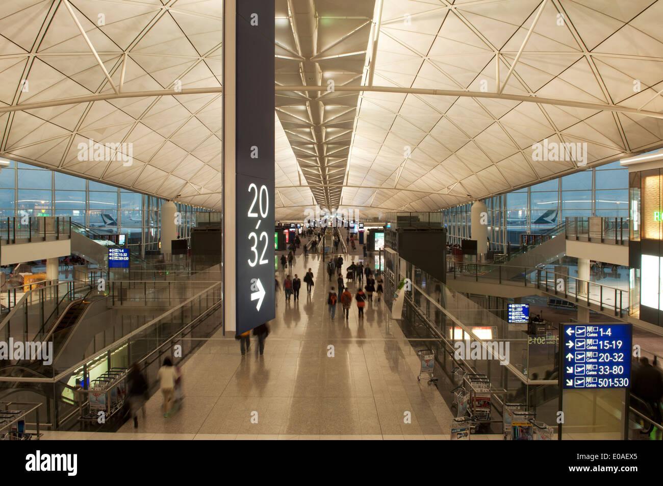 Ceilings and numbers, Hong Kong International Airport, Island of Chek Lap Kok, China - Stock Image