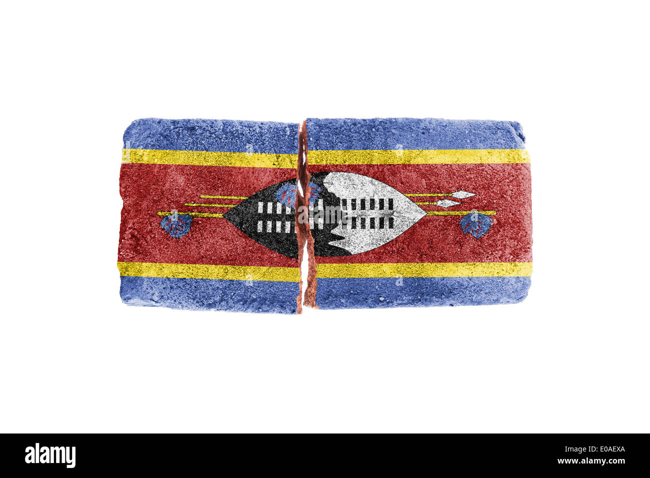 Rough broken brick  isolated on white background  flag of Swaziland Stock Photo