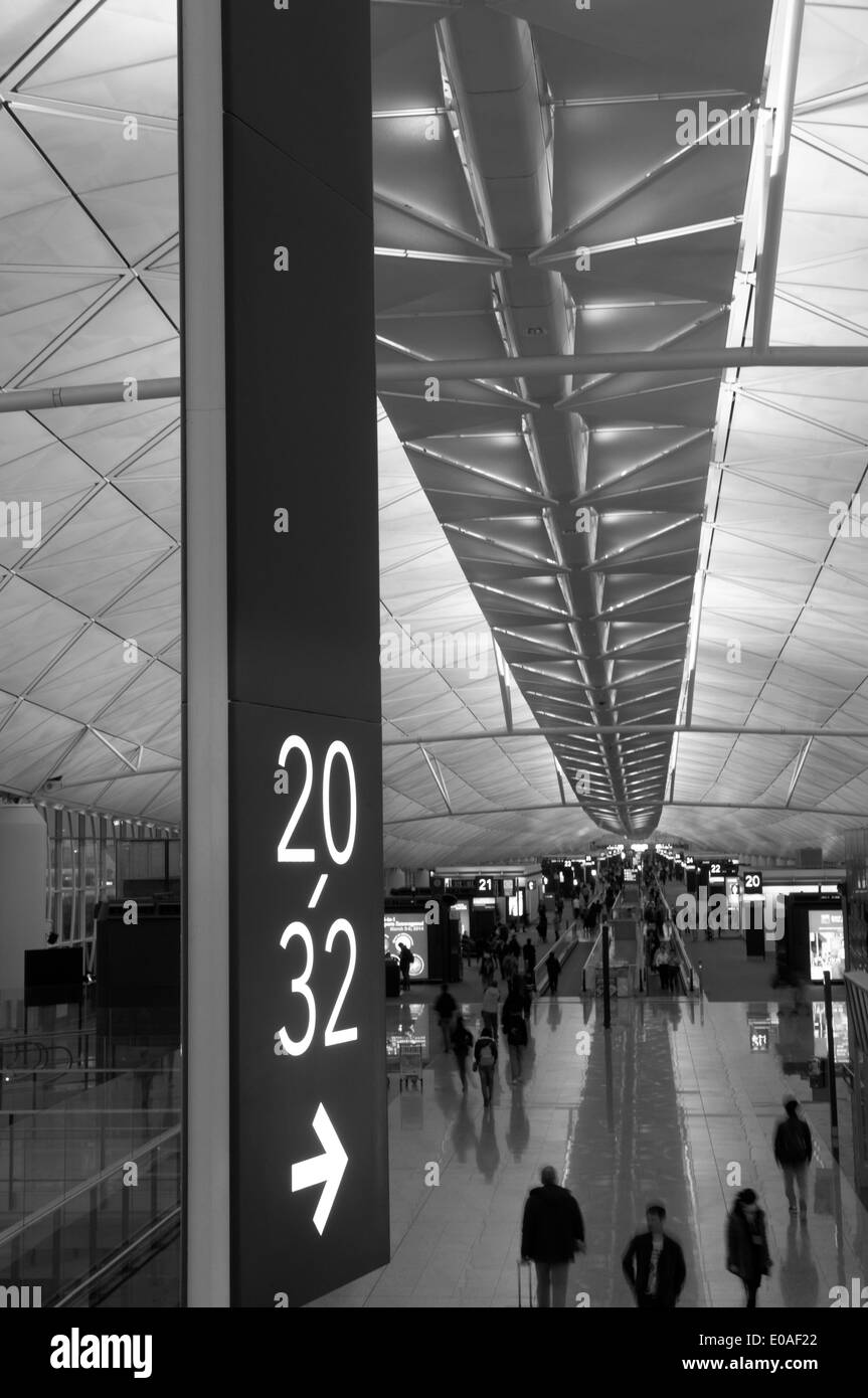 Ceilings and numbers, Hong Kong International Airport, Island of Chek Lap Kok, China - Stock Image