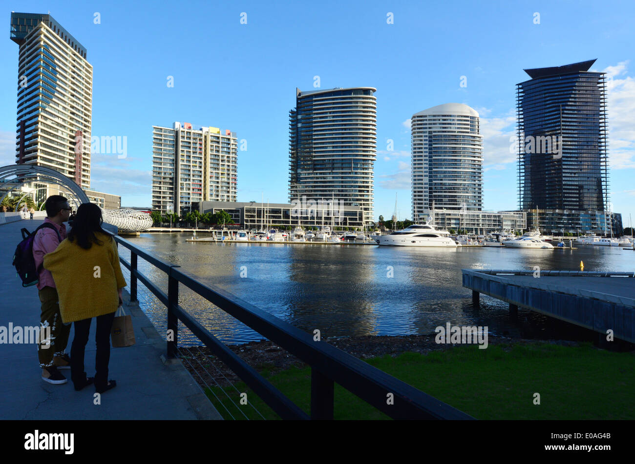 New Towers rises above the Yarra river in Docklands Melbourne Victoria Australia. - Stock Image