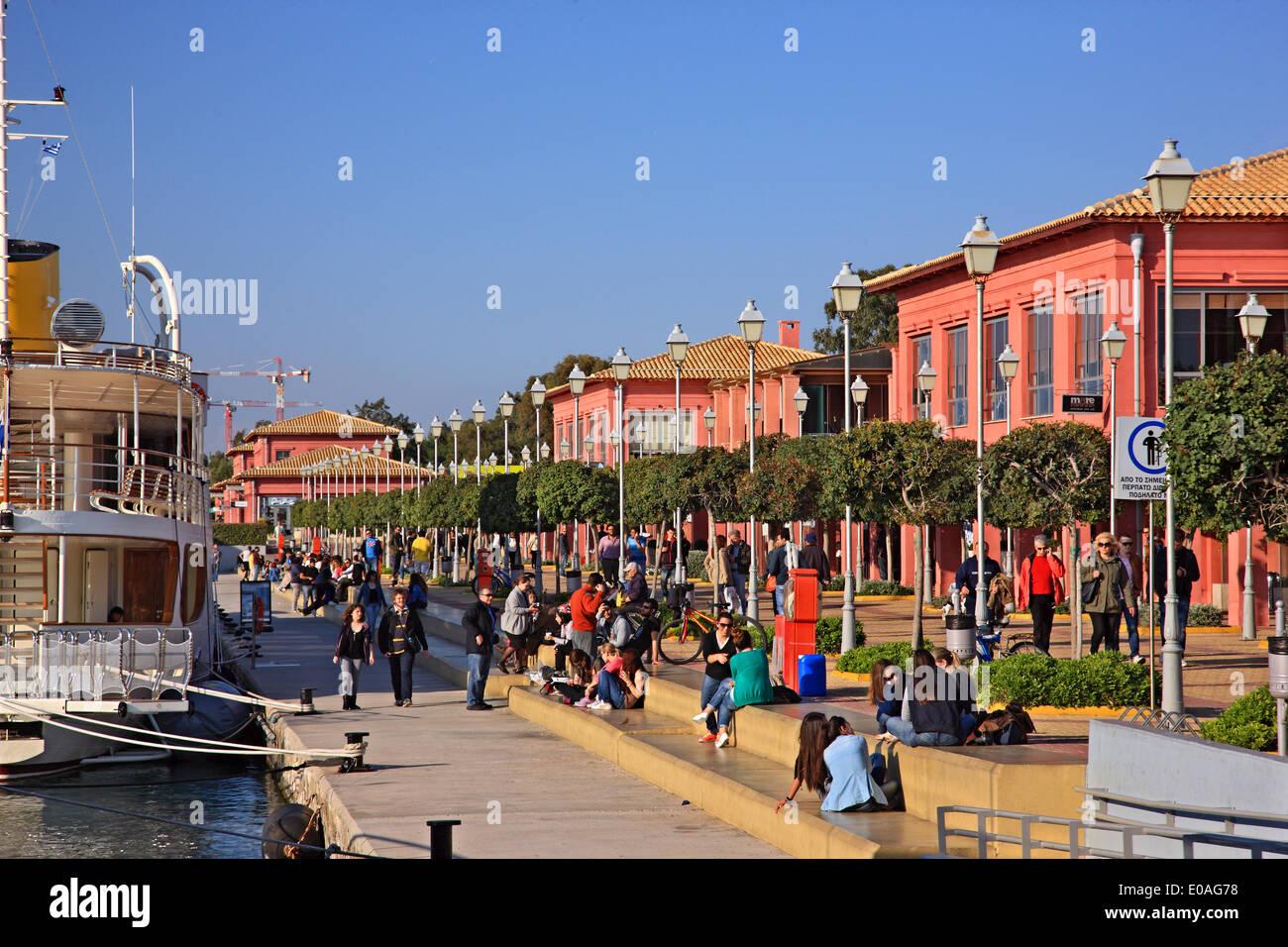 The Marina of Floisvos, popular recreation area in Palaio Faliro, Attica, Greece. - Stock Image