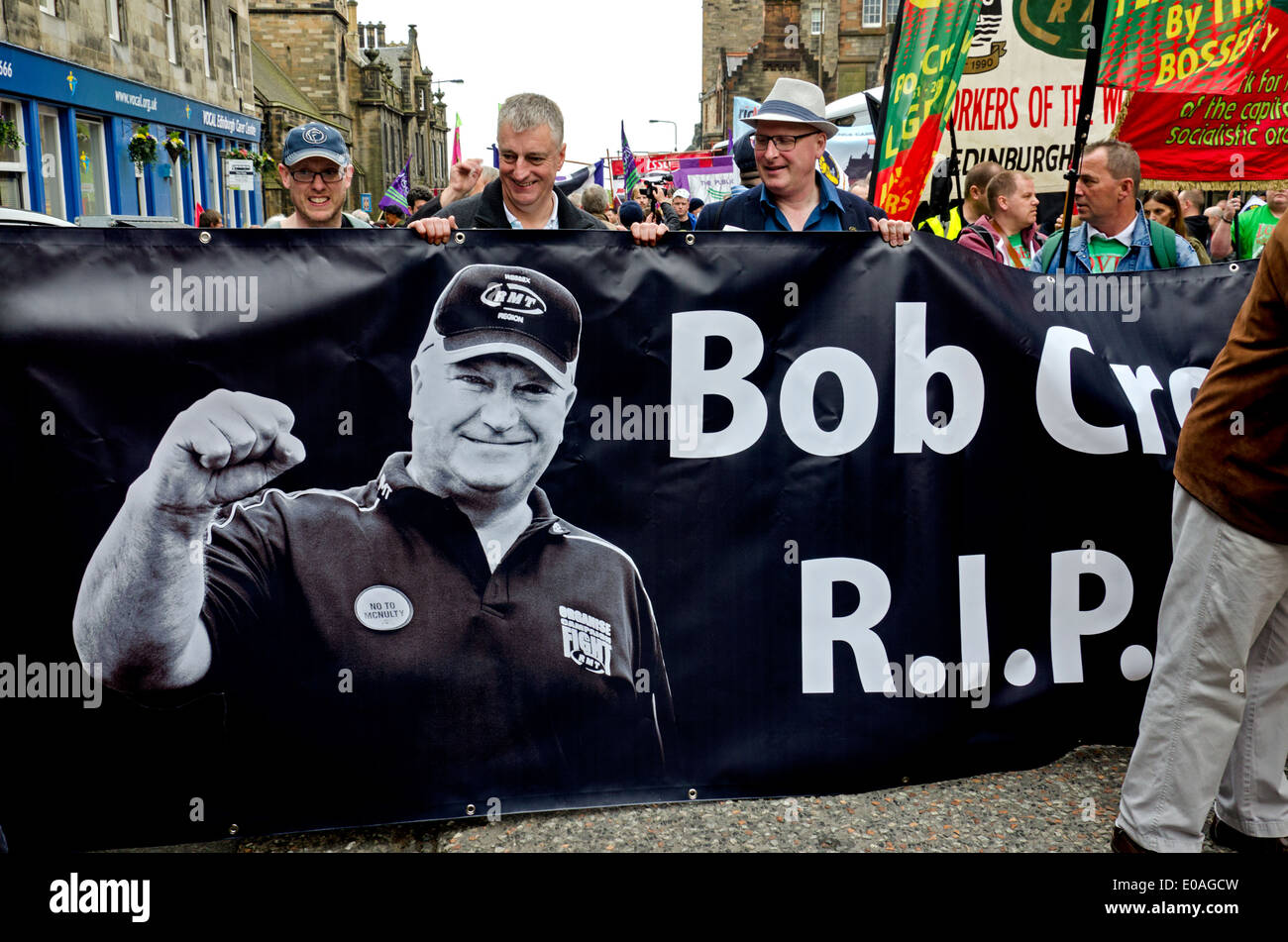 Members of the RMT union attend the May Day rally in Edinburgh with a banner depicting the late Bob Crow. - Stock Image