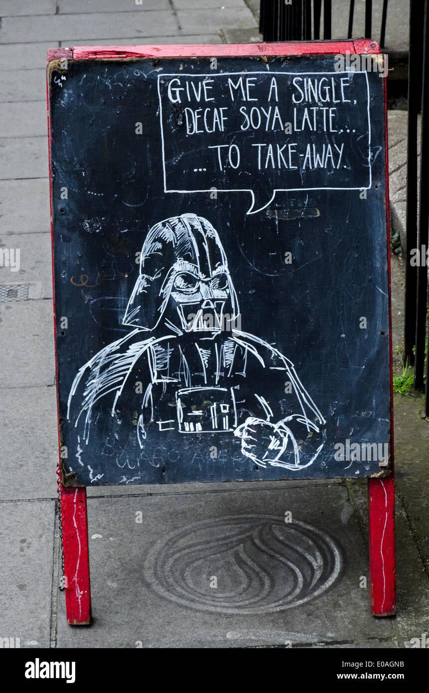 A chalk drawing of Darth Vader advertising 'Artisan Roast' cafe in Broughton Street, Edinburgh, Scotland, UK. - Stock Image
