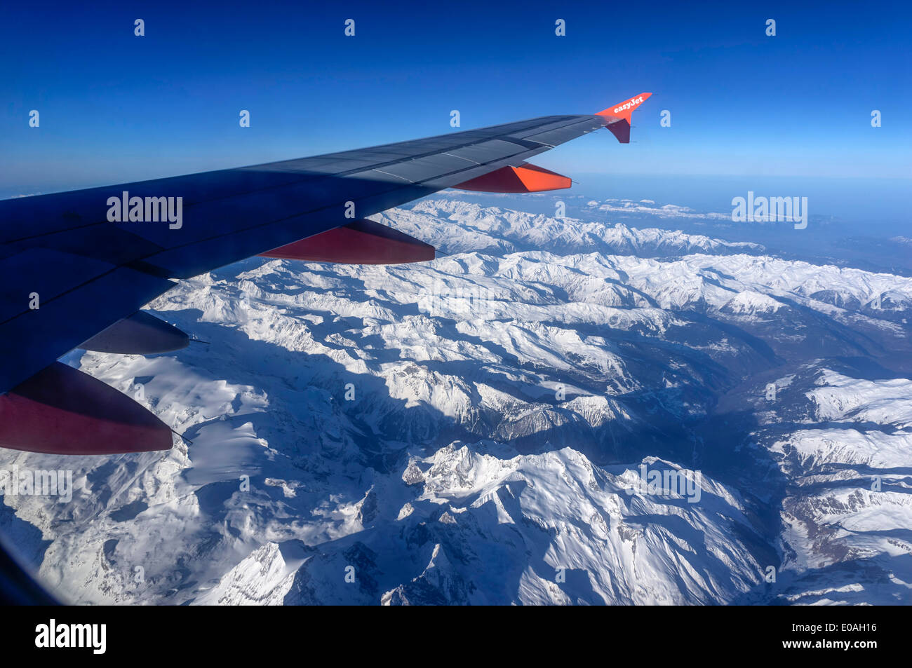 Easy Jet Flights, Alpes , Airial View,  - Stock Image