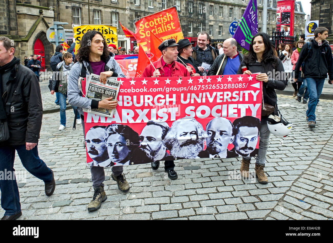 Students from the Edinburgh University Marxist Society marching at a May day Rally in Edinburgh. - Stock Image