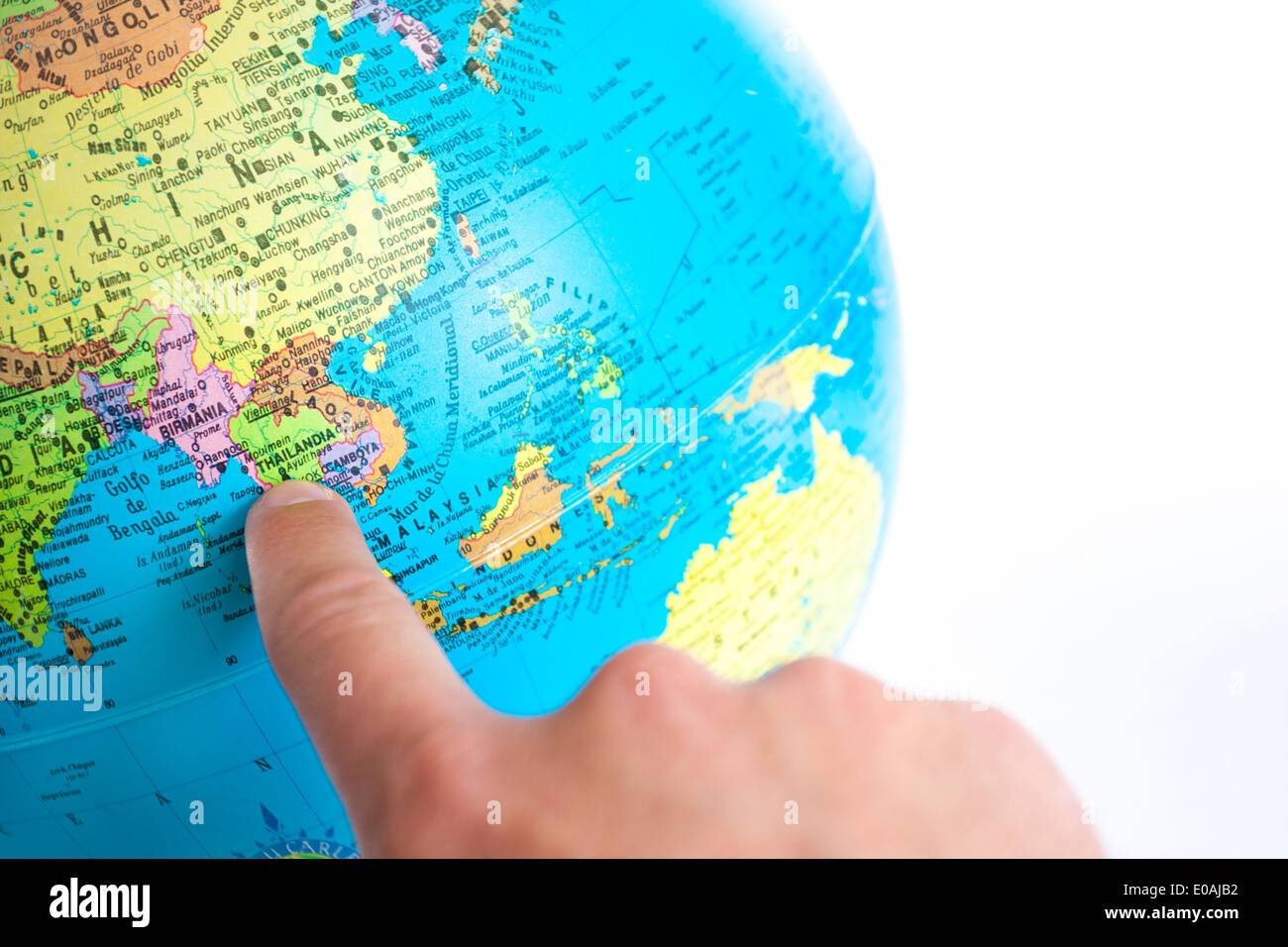 Finger pointing thailand on the global map stock photo 69075414 alamy finger pointing thailand on the global map gumiabroncs Image collections