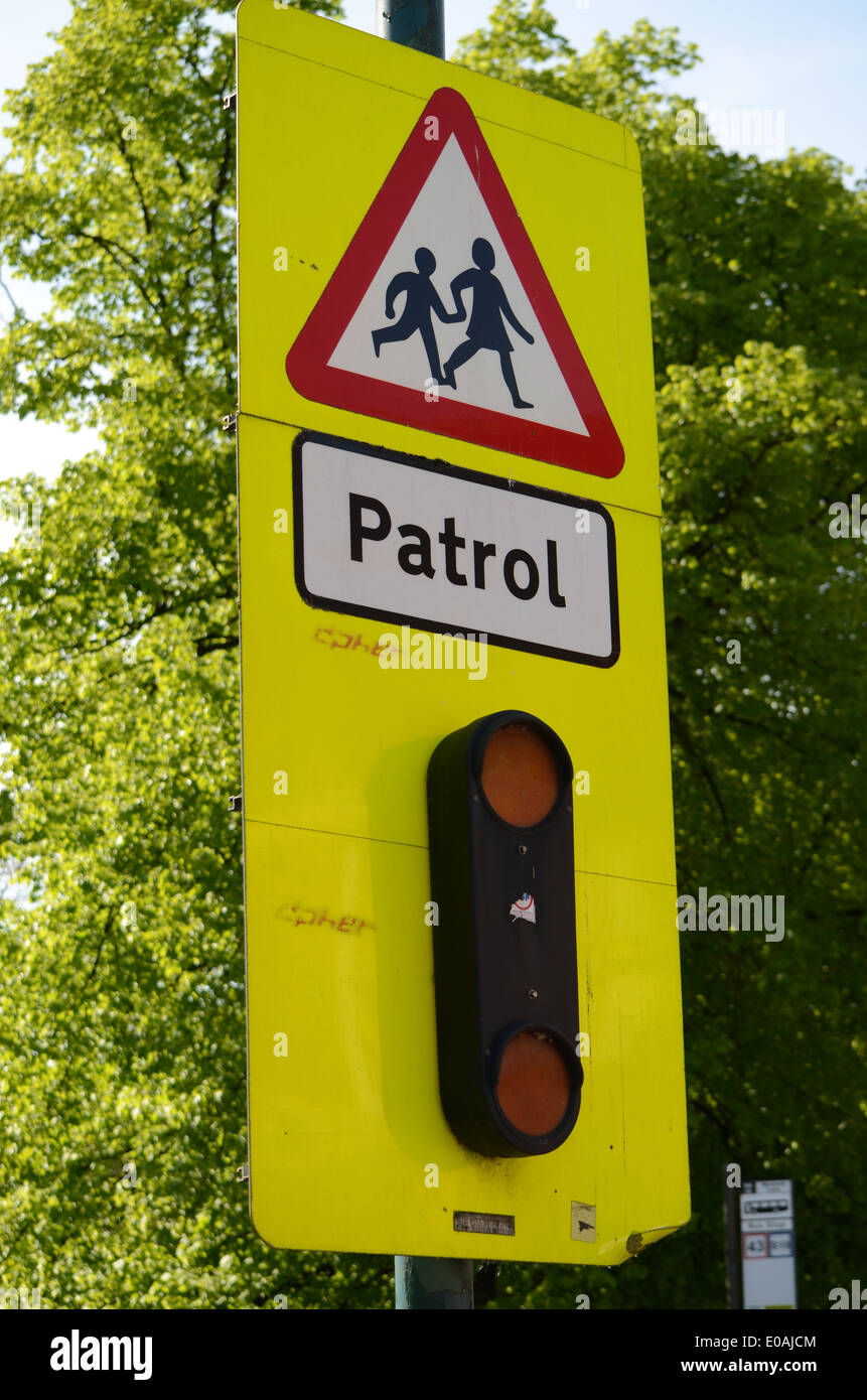 School patrol crossing warning sign and lights Stock Photo ...