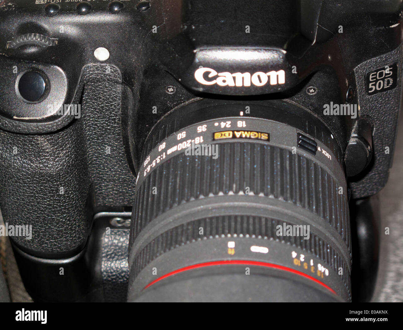 Close up of used Canon EOS 50D DSLR camera Stock Photo