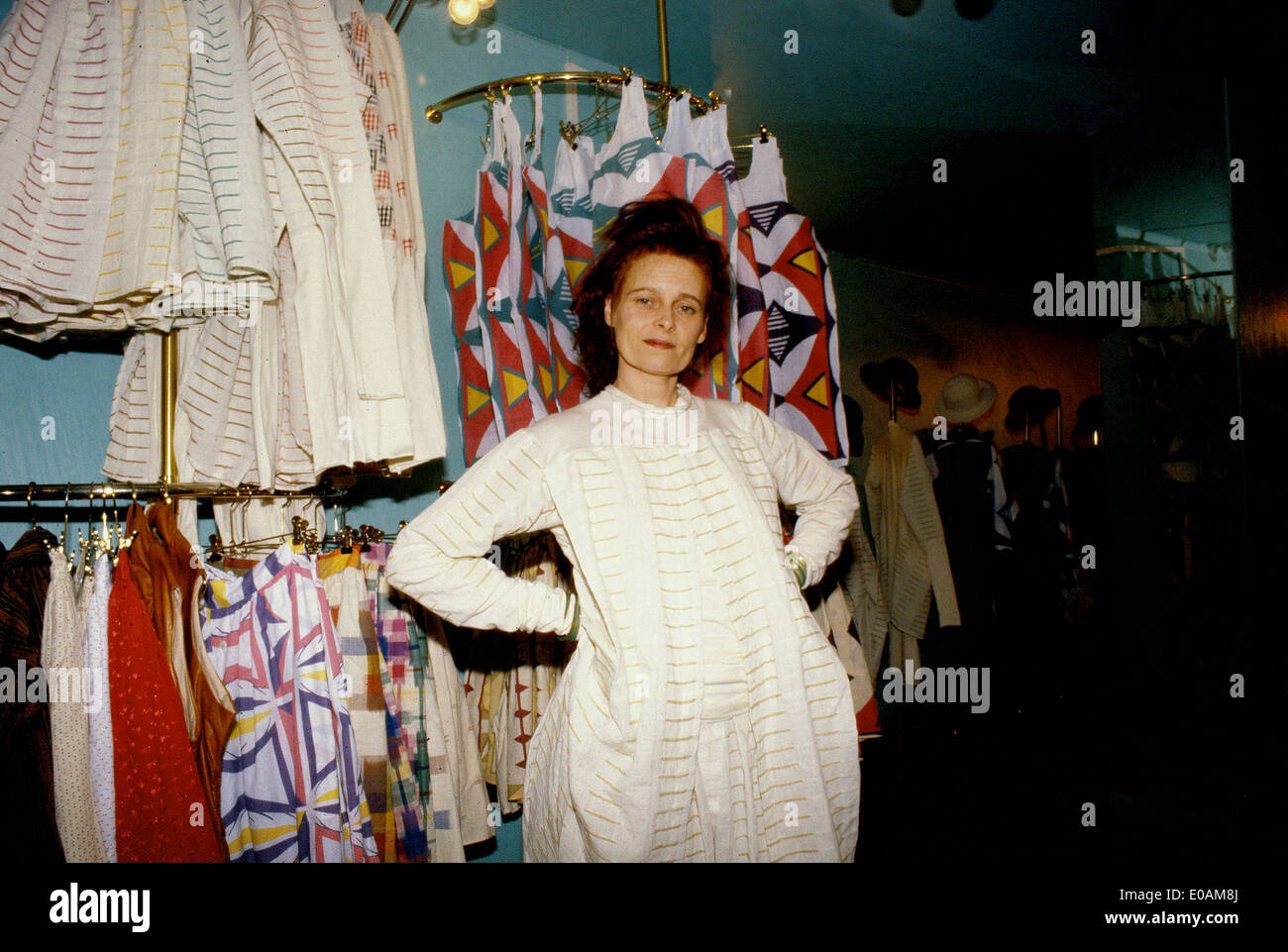 Vivienne Westwood in her Worlds End Shop in Chelsea, London - Stock Image