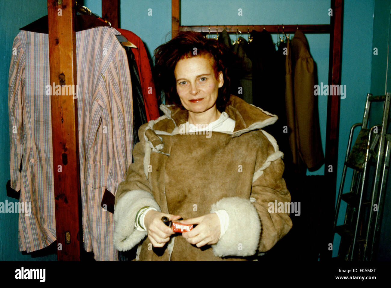 British fashion designer Vivienne Westwood in her Words End shop on the King's Road, Chelsea, London - Stock Image