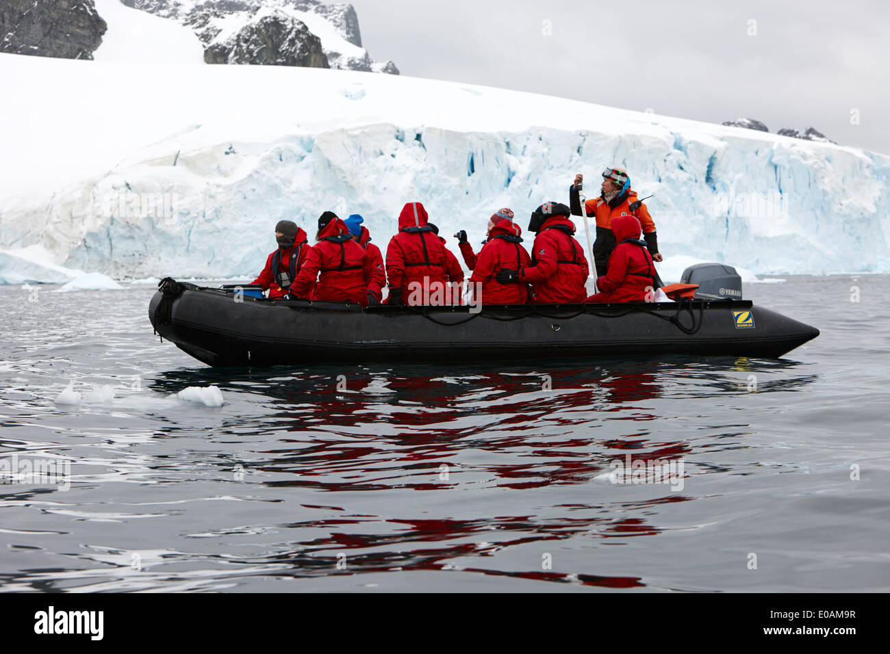 zodiac group of tourists go past icebergs and glacier on cuverville island Antarctica - Stock Image