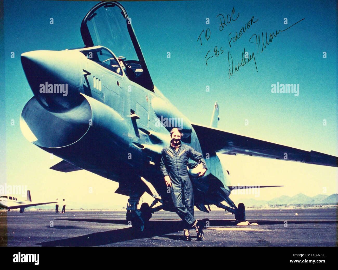 In Flight Photograph Of John Glenn Piloting His F8u 1p Crusader During The