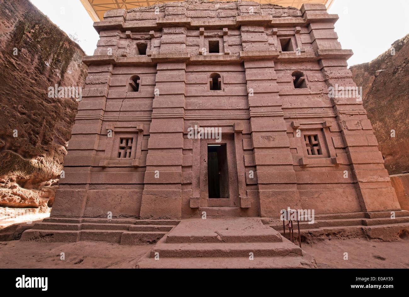 The rock hewn church of Bet Emanuel in Lalibela, Ethiopia - Stock Image