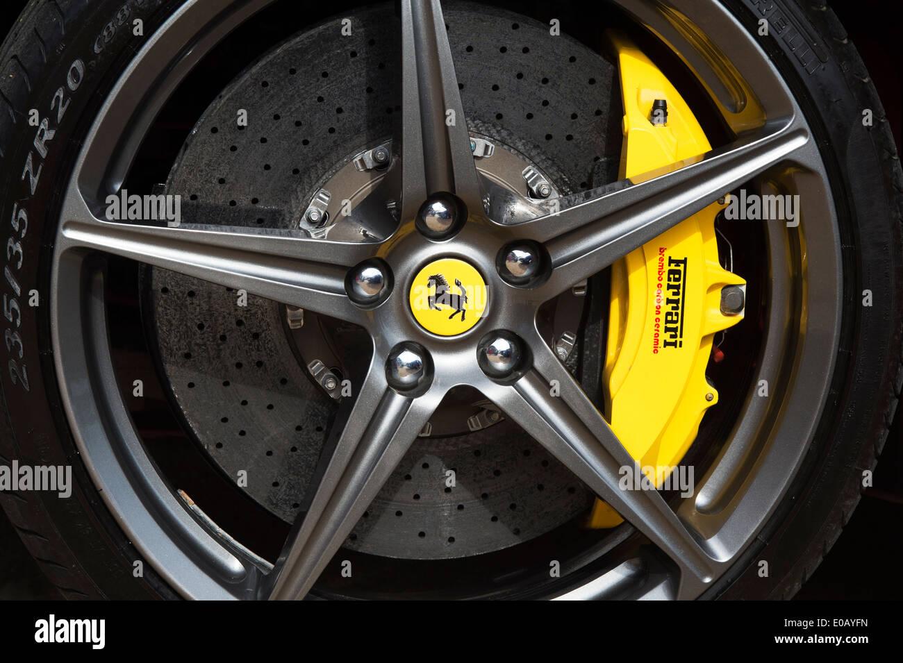 Ferrari wheel showing brake caliper - Stock Image