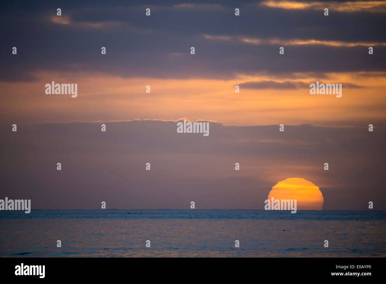 Germany, Sunset over North Sea - Stock Image