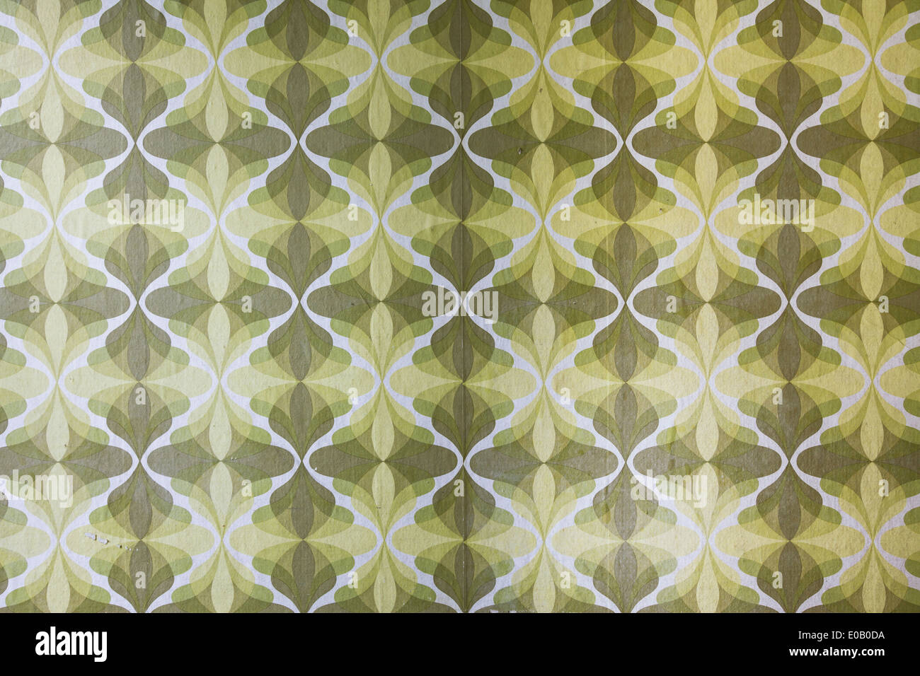 Germany, green retro wallpaper pattern - Stock Image