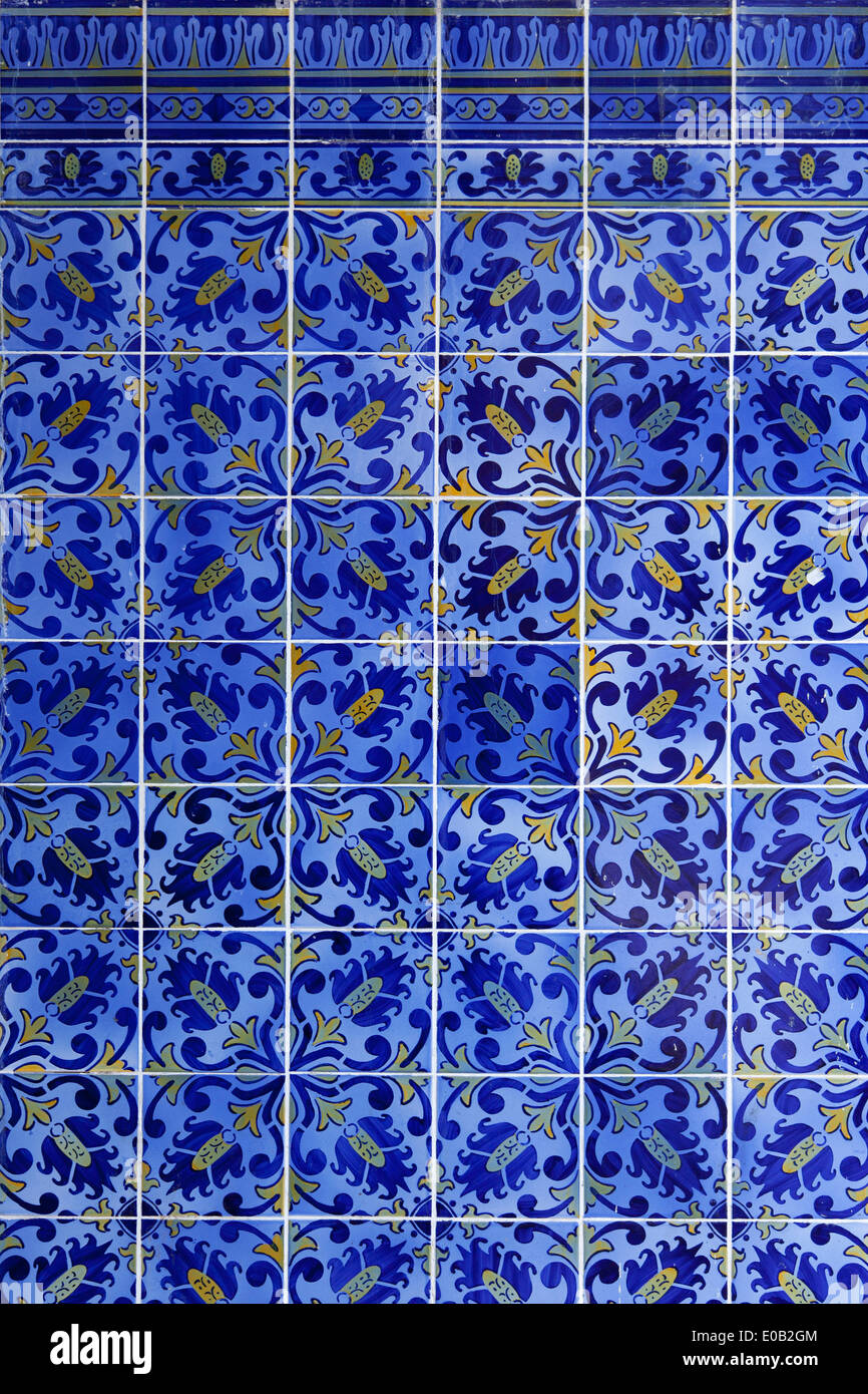 Detail of Portuguese glazed blue tiles - Stock Image